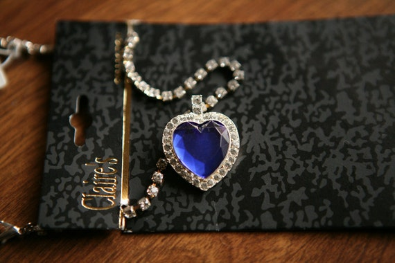 Titanic Necklace - Blue Heart Faux Diamond Costume Jewelry - Rose Dawson