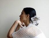 White shrug, woman shawl, kimono sleeve, bolero, capelet, wedding shrug