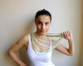 Loop spring scarf - crochet  pastel  vintage huge oversized buttons multicolor
