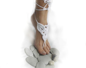 Crochet pattern  Barefoot thong sandals bridal summer wedding shoes slippers lace beach yoga dance, Instant download