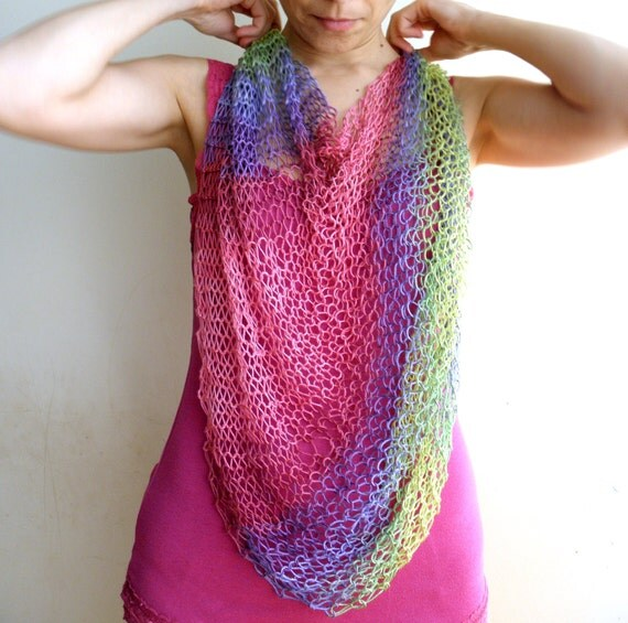 Multicolor Ombre Poncho, shrug, shawl ,Rainbow, boho colorful, bolero,capelet - pink, green, radiant orchid