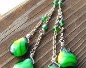 Dangly Green Glass Drop earrings