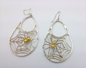 Sterling silver spider web earrings