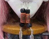 Pair of handmade earrings, Harley color or Indian, orange & black with feather sterling silver