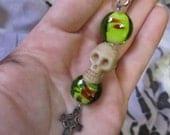 Goth Alternative beaded keychain/zipper pull, glass beads, skull & celtic cross charm