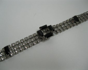 Vintage Necklace Black Rhinestone - 1950s Wedding Choker - Bridal Fashions