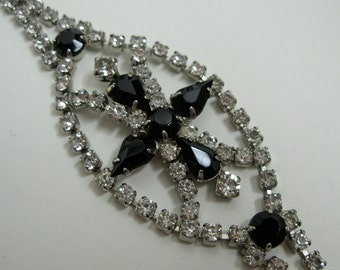 Vintage 1950s Black Rhinestone Bracelet - Wedding Jewelry - 1940s Bridal Fashions