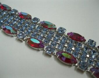 Vintage 1950s Rhinestone Bracelet - Blue Red Aurora Borealis - Wedding Bridal Fashions