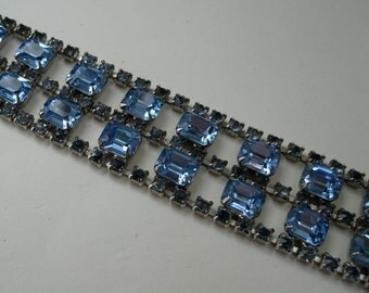 Vintage 1950s Blue Rhinestone Bracelet - Wedding Jewelry - 1960s Bridal Fashions