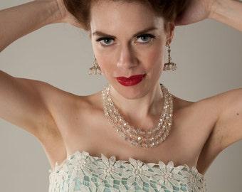 Vintage 1960s Chandelier Earrings - Aurora Borealis Crystal - Wedding Bridal Fashions