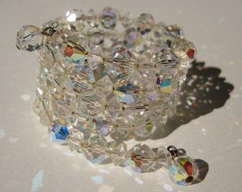 Vintage 1950s Rhinestone Bracelet - Crystal Aurora Borealis - 1960s Wedding Bridal Fashions