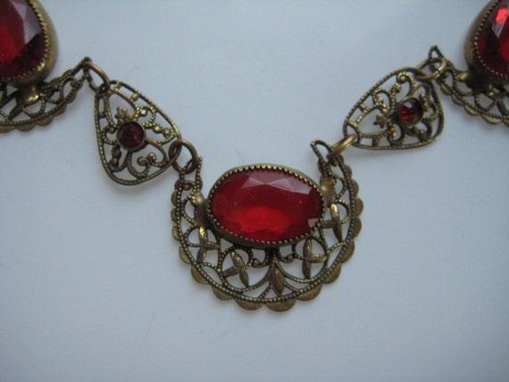 Antique Red Wedding Necklace Downton Abbey Filigree Edwardian Art Nouveau Vintage 1910s