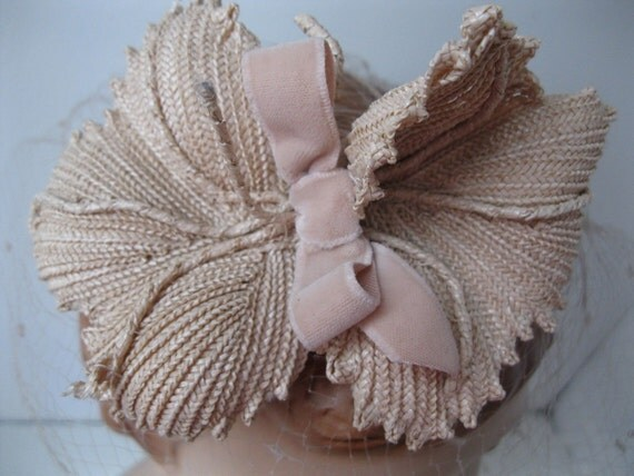 Vintage 1960s Wedding Hat Veil Straw Flower Birdcage Beige Nude Neutral 1950s Bridal Spring Fashions