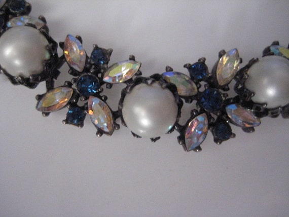Vintage 1960s Vendome Necklace Earrings Blue Rhinestone 1950s Bridal Fashions