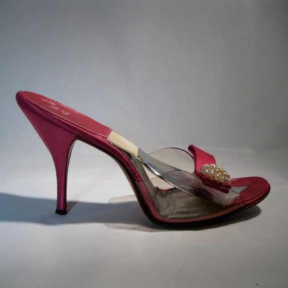 Vintage 1950s Pink Springolator Shoes Peep Toe Stiletto High
