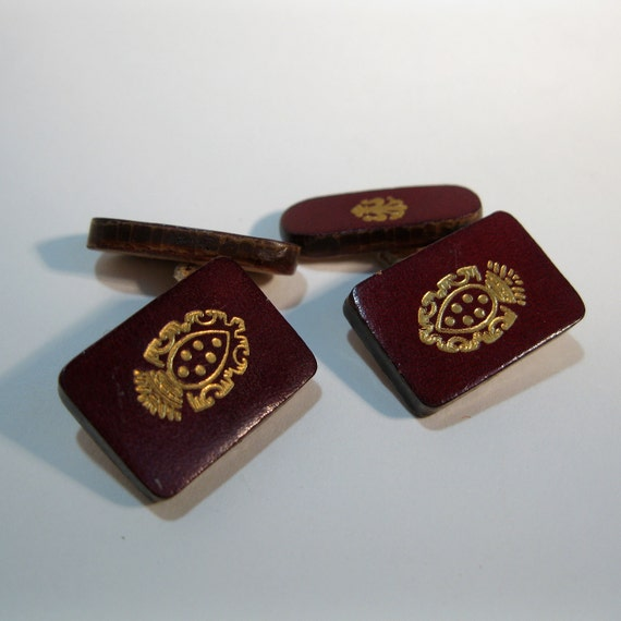 Antique Edwardian Leather Cufflinks Burgundy Gold Wedding Groom Gift 1910s