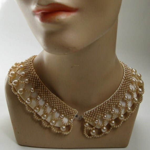 Vintage 1950s Beaded Collar Necklace Wedding Bridal Fashions Faux Pearls Glass Beads