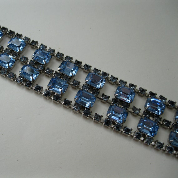 Vintage 1950s Blue Rhinestone Bracelet - Wedding Jewelry - 1960s Bridal Fashions