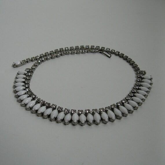 Vintage 1950s Wedding Necklace White Milk Glass Rhinestone Choker Bridal Fashions 1960s