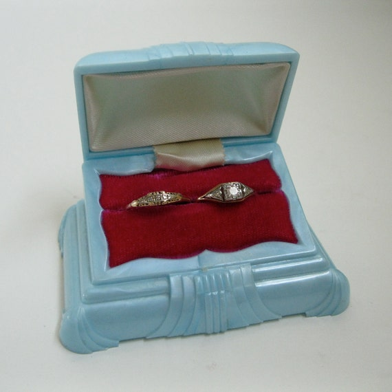 Engagement Ring Box Sale: Vintage 1940s Tiffany Blue Ring Box Mid Century Wedding