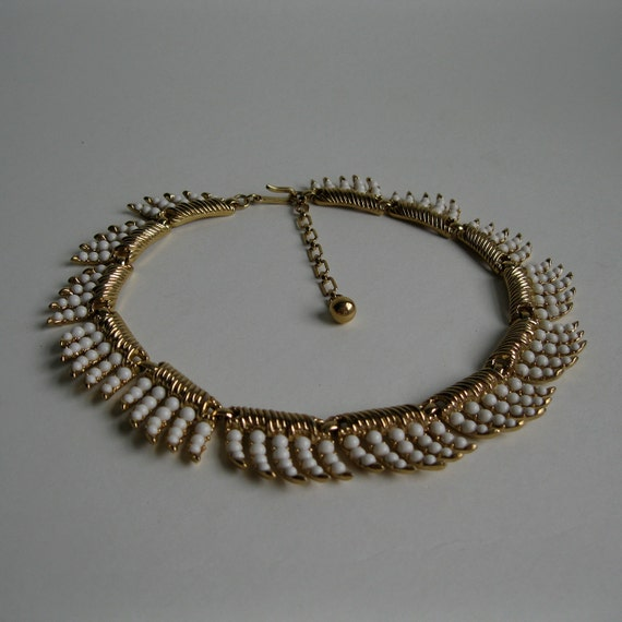 Vintage 1950s Trifari Wedding Necklace White Fringe Bridal Fashions