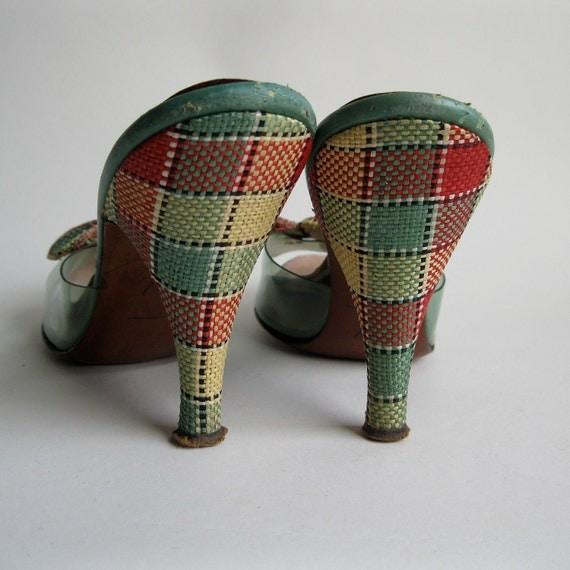 Vintage 1950s Plaid Springolator Shoes Bow Teal Wedding Bridal Fashions VLV