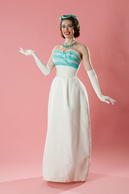 Vintage 1960s cupcake wedding dress turquoise white chiffon for Aqua blue and white wedding dresses