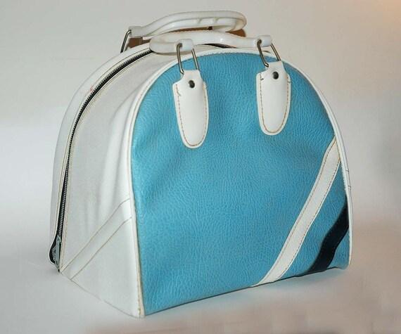 Vintage Bowling Ball Bag Retro Baby Blue Color