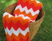 Crochet Blanket Throw Bold Orange Chevron Pattern