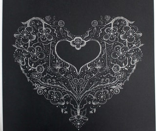 Silver on Black Hand Screened Cherry Blossom Heart Card
