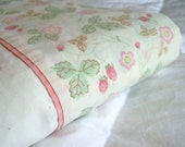 Sweet as a Summer Strawberry- Vintage Queen Size Flat  Sheet