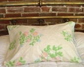 Vintage Floral Pillowcase with Wavy Blue Trim- Standard Size