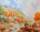 SALE up to 20% off Autumn ORIGINAL WATERCOLOR Landscape Fall Aspens Trees Painting