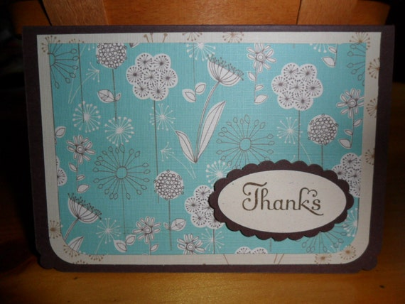 Turquoise and Brown Thank You Card Set - 5