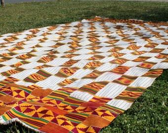 Tribal Geometry: Vintage Ewe Kente Cloth / Yellow, Burgundy, White / Ghana, West Africa 1970's Textile / Decorating, Repurposing, Decor