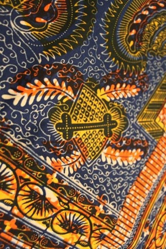 "Last Piece: Orange, Blue, Yellow BATIK genuine wax print fabric / 27"" / Authentic Tribal African Fabric, Craft, Sewing Supplies"
