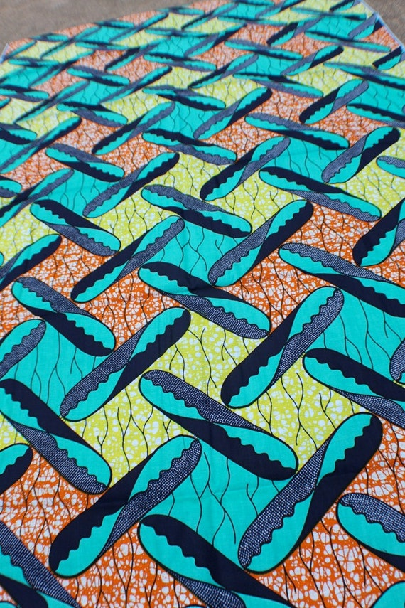 BATIK genuine African wax print fabric - 1 ft. Remnant- Teal, Orange, Yellow Boomerang Pattern
