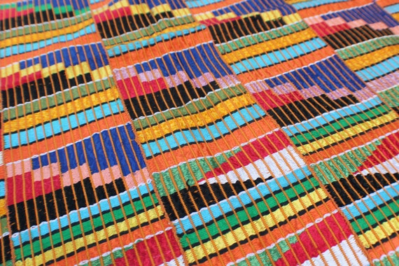 Ewe Kente Cloth from Ghana, Africa.  Vintage (1970's), bright, geometric tribal woven textile