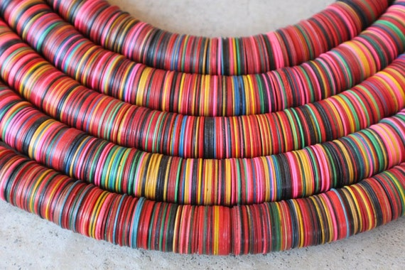 Large African Vinyl Record Beads Vintage Multi Colored With