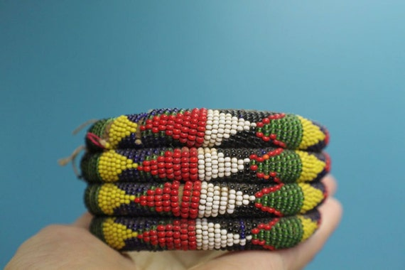 African Beaded Bangle (Larger) from Nigeria, 70-80 years old, Fulani Tribe- Leather and seed beads