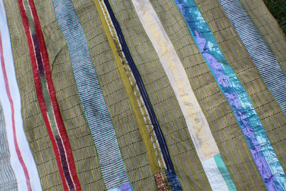 Vintage Aso Oke Fabric (large) from the Yoruba Tribe- Rich Multi-Colors: Red, Periwinkle, Blue, Khaki