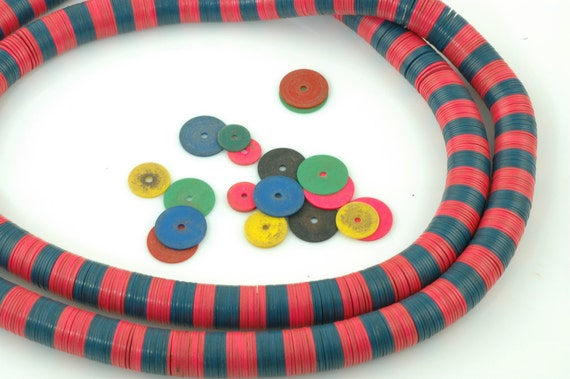 Vintage African Vinyl (Vulcanite) Record Beads, Bright PINK and BLUE- last 10mm strand, 10x.5mm