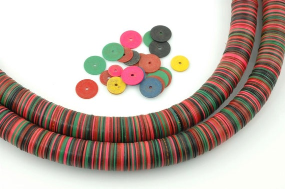 African Vinyl Record Beads Vintage Pink and Green, Rich colors with Pink- 14x.5mm. Rare.
