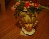 Vintage Enesco Woman Head Planter