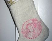 burlap/ embroidered/ Christmas stocking/ old world Princess/ pink/ Laurel wreath/ flowers/ French/ wedding/ engagement/ European chic