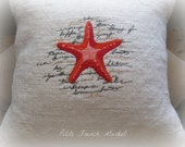 Starfish/ french script/ embroidered/ Burlap/ Pillow Cover/ beach house/ cottage decor