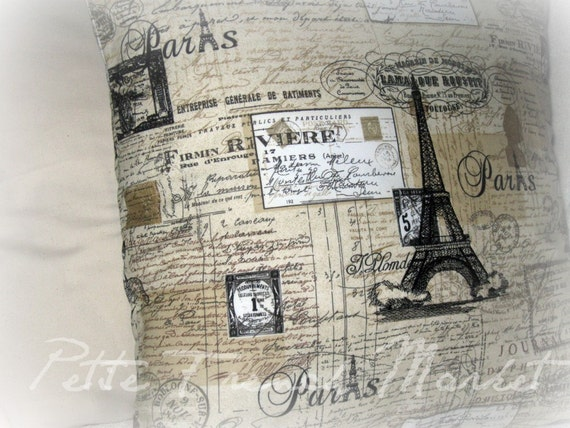 Old World France- embroidered pillow cover