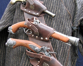 Pirate 3 Pistol Baldric in Chocolate water Buffalo