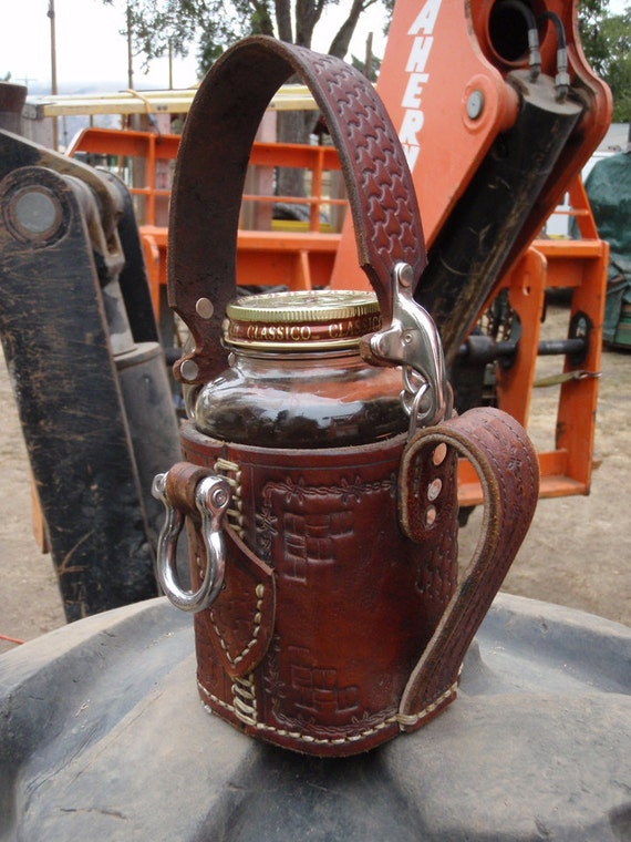 Steampunk Leather Armored Coffee Mug: Fork-liftable