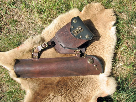 Nobles  Belt Quiver with Pouch in Chocolate Water Buffalo and Deer